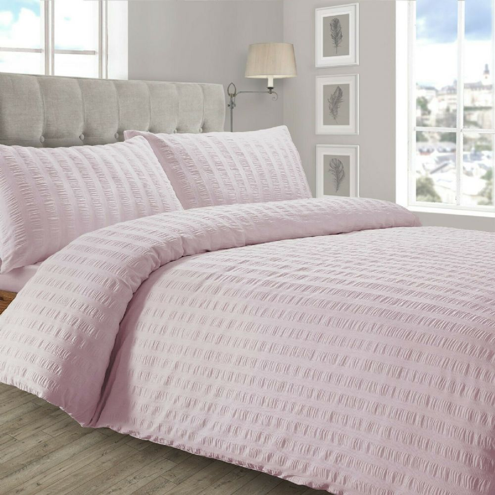 STYLISH RUFFLED LUXURY DUVET COVER SEERSUCKER PLEATED SOFT POLYCOTTON BEDDING BLUSH PINK
